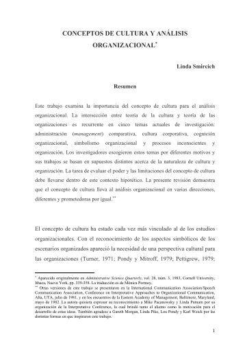 CONCEPTOS DE CULTURA Y ANÁLISIS ORGANIZACIONAL - UV