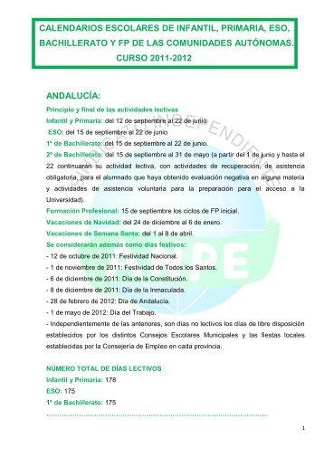 CALENDARIOS ESCOLARES DE LAS CCAA - ANPE