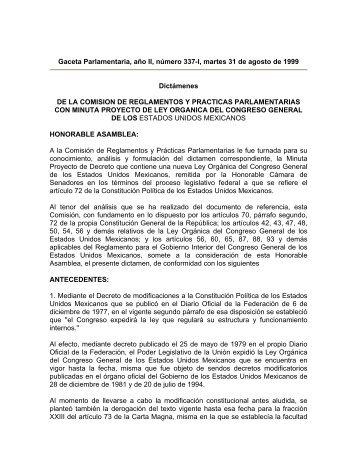 Gaceta Parlamentaria, año II, número 337-I, martes 31 de agosto de ...