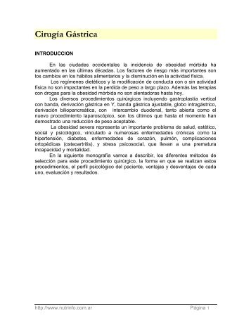 Cirugía Gástrica - Nutrinfo.com