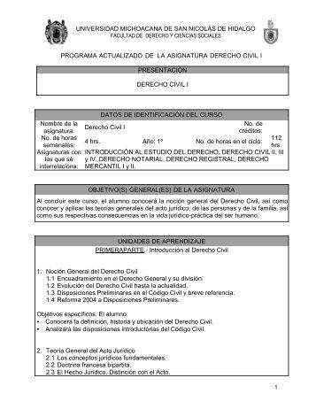 Derecho Civil I - Facultad de Derecho y Ciencias Sociales ...