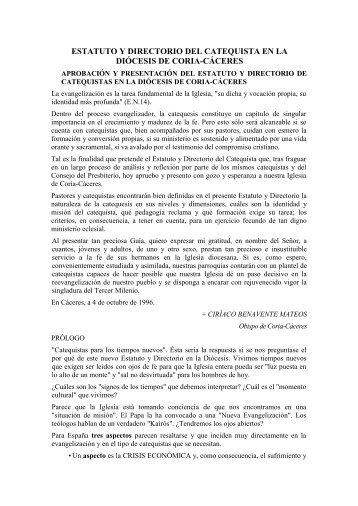estatuto y directorio del catequista en la diócesis de coria-cáceres