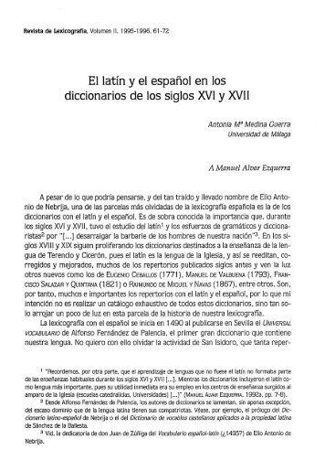 El latín y el español en los diccionarios de los siglos XVI y XVII - RUC