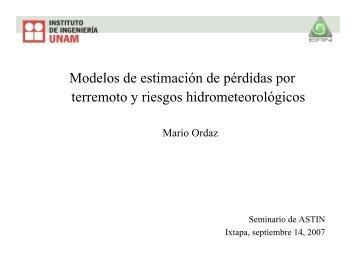 Modelos para Terremoto y Riesgos Hidrometeorológicos