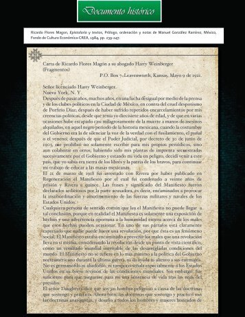 Carta de Ricardo Flores Magón a H.W. - INEHRM