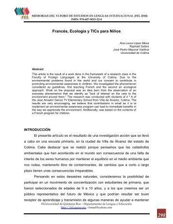 Francés, Ecología y TICs para Niños - Foro de Estudios en Lenguas ...