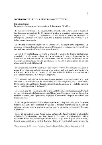 1 SOCIEDAD CIVIL, ETICA Y PERIODISMO ... - Museu da Vida