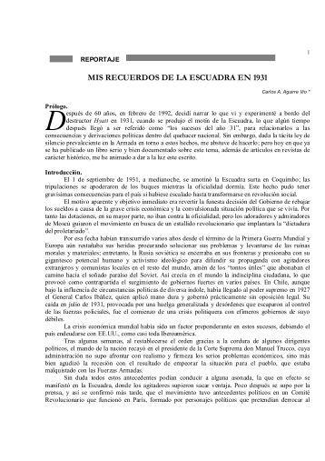 MIS RECUERDOS DE LA ESCUADRA EN 1931 - Revista de Marina