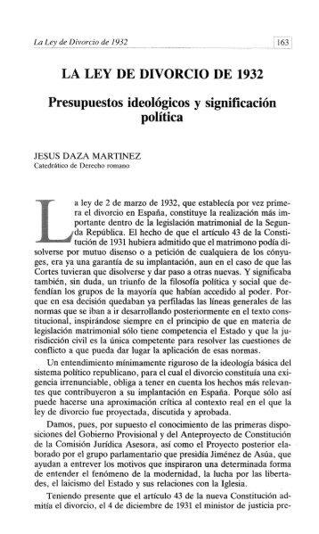 LA LEY DE DIVORCIO DE 1932 Presupuestos ideológicos y ... - RUA