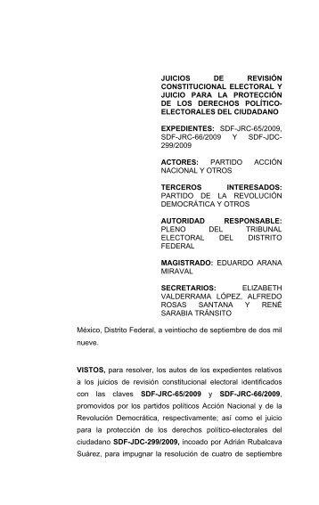 SDF-JRC-065/2009 y acumulado 066/2009 - Tribunal Electoral del ...