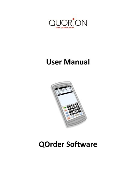 User Manual QOrder Software - QUORiON