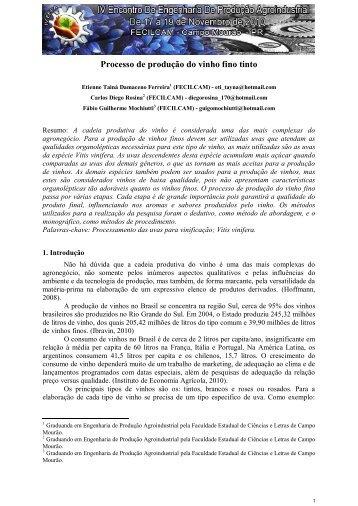 Processo de produção do vinho fino tinto - Faculdade Estadual de ...