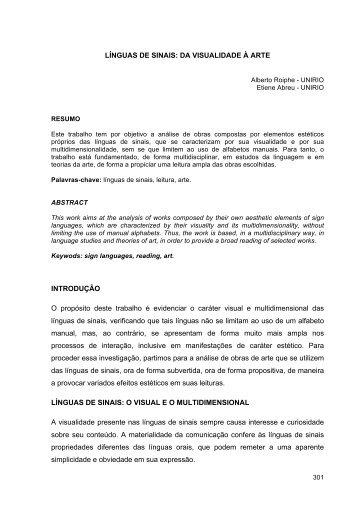 LÍNGUAS DE SINAIS: DA VISUALIDADE À ARTE ... - Anpap