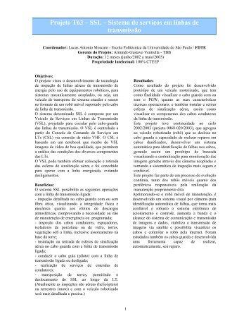 Projeto T63 – SSL – Sistema de serviços em linhas de ... - CTEEP