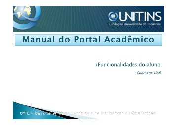 Manual do Portal Acadêmico - Unitins
