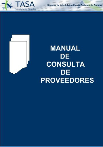 MANUAL DE CONSULTA DE PROVEEDORES - TASA
