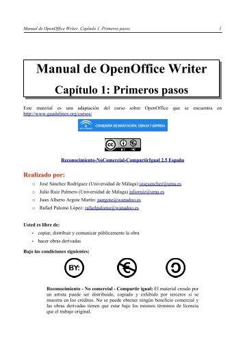 Manual de OpenOffice Writer. Capítulo 1. Primeros pasos