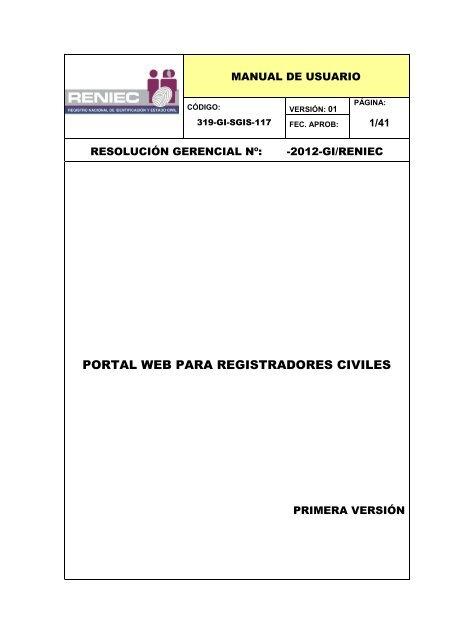 Portal Web Para Registradores Civiles Reniec
