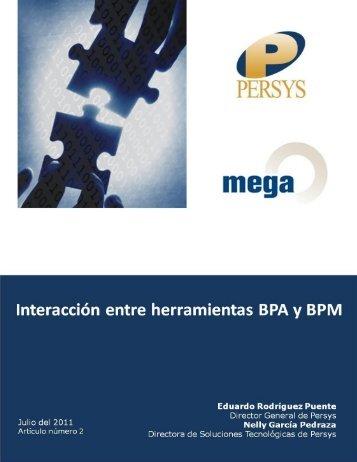 Interacción entre BPA y BPM - Persys