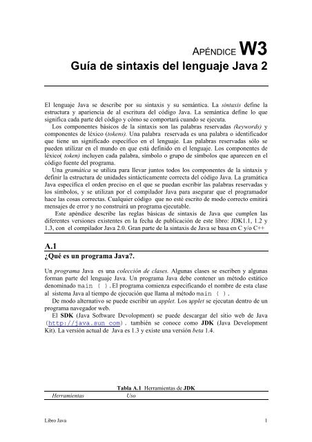 W3 Guía De Sintaxis Del Lenguaje Java 2