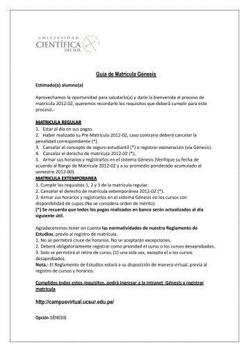 Guía de Matrícula Génesis http://campusvirtual.ucsur.edu.pe/