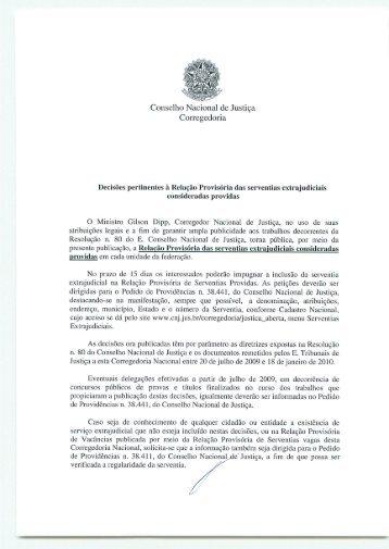 Relação provisória de serventias extrajudiciais consideradas providas
