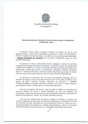 Relação Provisória das serventias extrajudiciais consideradas vagas