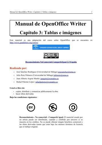 Manual de OpenOffice Writer. Capítulo 3. Tablas e imágenes