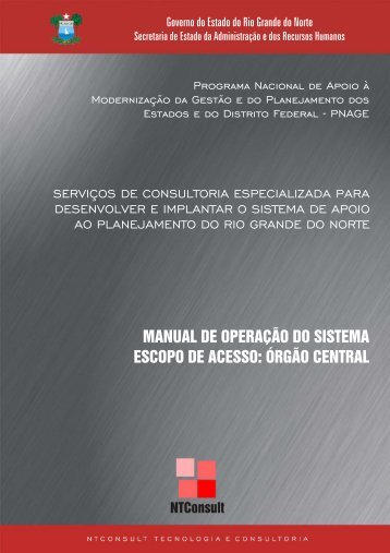 Manual de operação do sistema de Apoio ao planejamento - SIAP