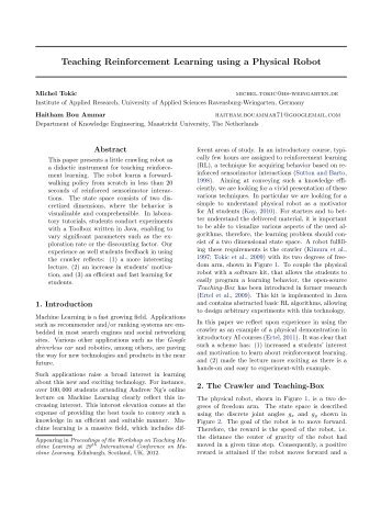 Teaching Reinforcement Learning using a Physical Robot - Tokic
