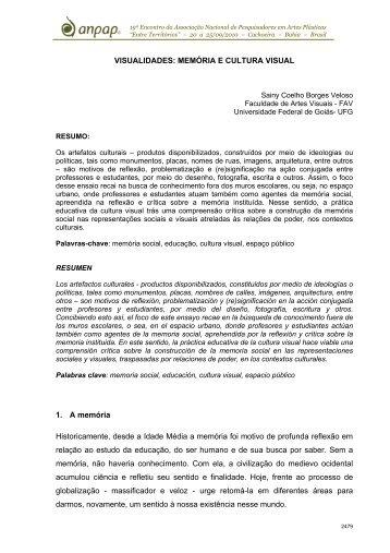 VISUALIDADES: MEMÓRIA E CULTURA VISUAL 1. A ... - anpap