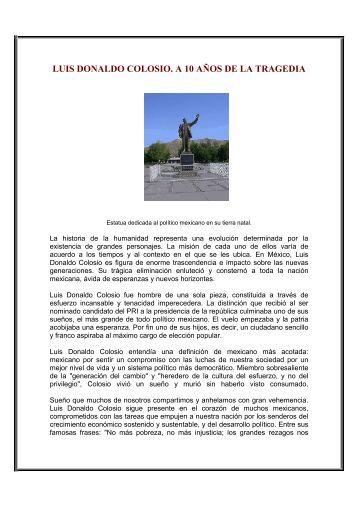 LUIS DONALDO COLOSIO. A 10 AÑOS DE LA TRAGEDIA - issste