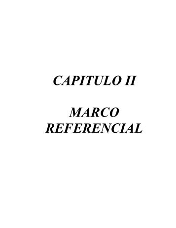 CAPITULO II MARCO REFERENCIAL