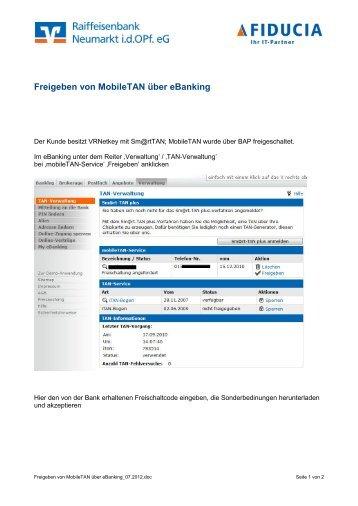 Freigeben von MobileTAN über eBanking
