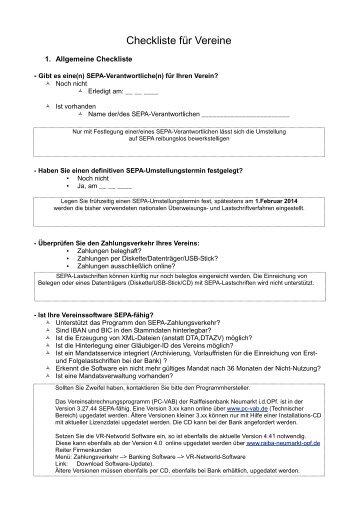 Checkliste für Vereine - Raiffeisenbank Neumarkt i. d. OPf. eG