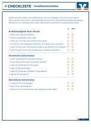 ? CHECKLISTE Kreditsicherheiten - Raiffeisenbank Ried eG