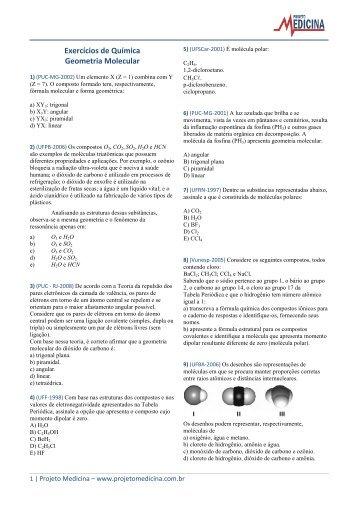 Exercícios de Química Geometria Molecular - Projeto Medicina