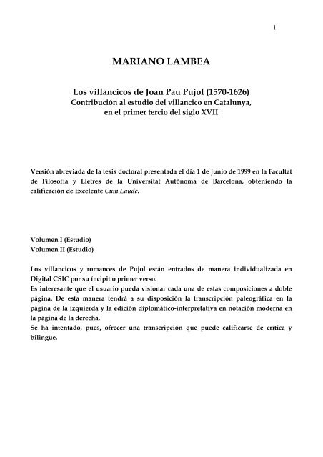 Mariano Lambea Los Villancicos De Joan Pau Pujol Consejo
