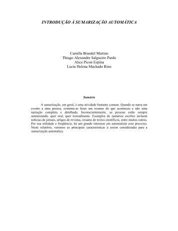 INTRODUÇÃO À SUMARIZAÇÃO AUTOMÁTICA - ICMC - USP