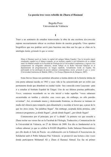 LA POESIA TRES VECES REBELDE DE ZHARA EL HASNAUI - RUA