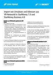 Import von Umsätzen und Adressen aus VR-Networld in StarMoney ...