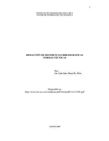 Normas para la redacción de referencias bibliográficas. - TEC
