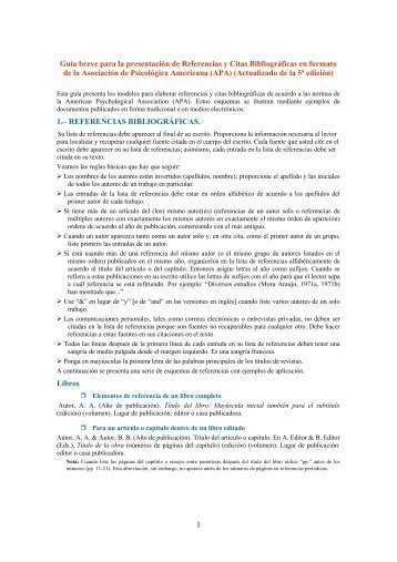 Guía breve de referencias y citas bibliográficas - Centro del ...