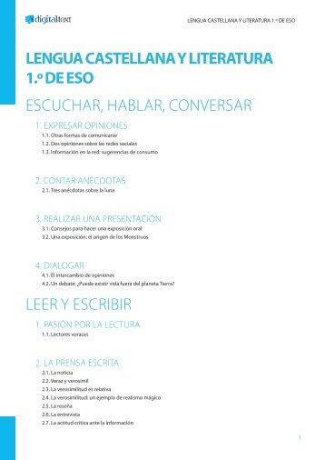 LENGUA CASTELLANA Y LITERATURA 1.º DE ESO ... - Digital-Text