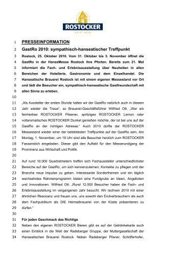 PRESSEINFORMATION GastRo 2010 - Radeberger Gruppe KG
