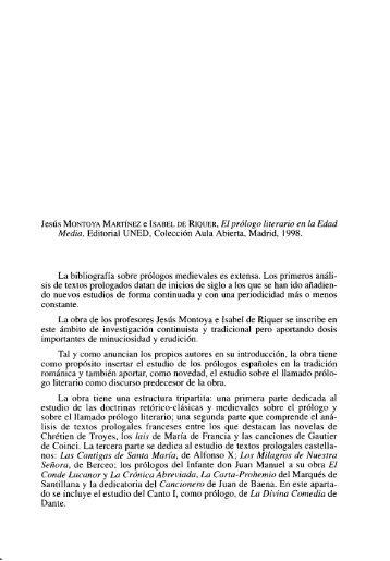 Jesús Montoya Martínez e Isabel de Riquer. El ... - e-Spacio - UNED