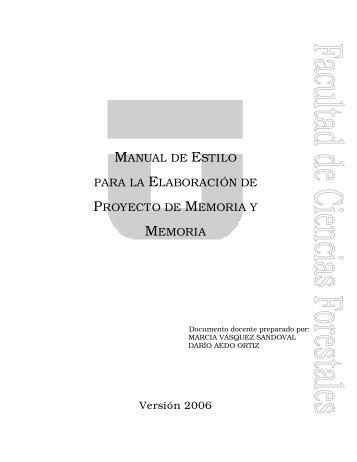 manual de estilo para la elaboración de proyecto de memoria