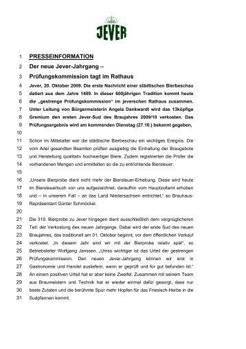 PRESSEINFORMATION Der neue Jever-Jahrgang - Radeberger ...