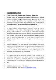 PRESSEINFORMATION Tucher Brauerei - Spatenstich für neue ...