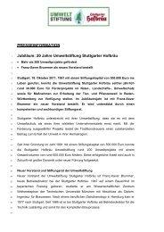 20 Jahre Umweltstiftung Stuttgarter Hofbräu - Radeberger Gruppe KG
